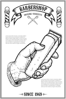 Barber shop poster template. human hand with hair clipper.  element for card, , flyer.  illustration