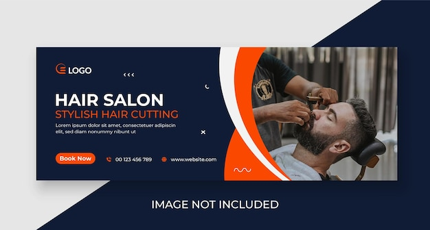 Barber shop promotional social media cover and web banner template