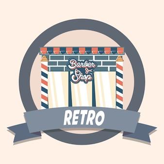 Barber shop retro shopping vintage label vector illustration