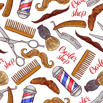 Barber shop. seamless pattern of hairdressing accessories and different mustache. hand-drawn illustration