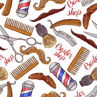 Парикмахерская. бесшовные модели парикмахерских принадлежностей и разных усов. рисованная иллюстрация