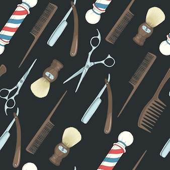 Barber shop seamless pattern with colored hand drawn razor, scissors, shaving brush, comb, classic barber shop pole on black.