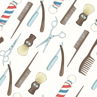 Barber shop seamless pattern with colored hand drawn razor, scissors, shaving brush, comb, classic barber shop pole.