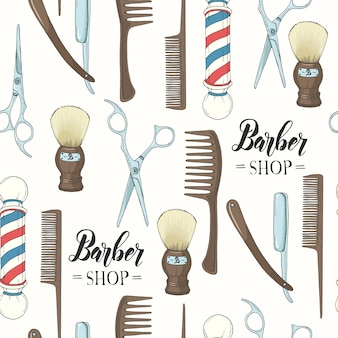 Barber shop seamless pattern with  hand drawn razor, scissors, shaving brush, comb, classic barber shop pole.