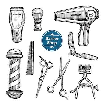 Парикмахерская набор doodle эскиз иконки
