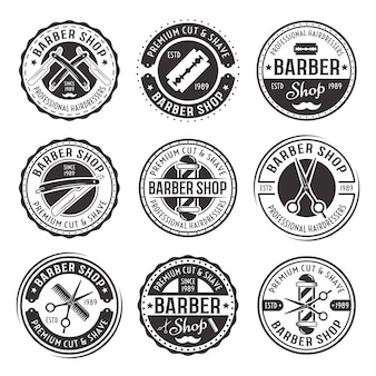 Barber shop set of nine vector black vintage round badges