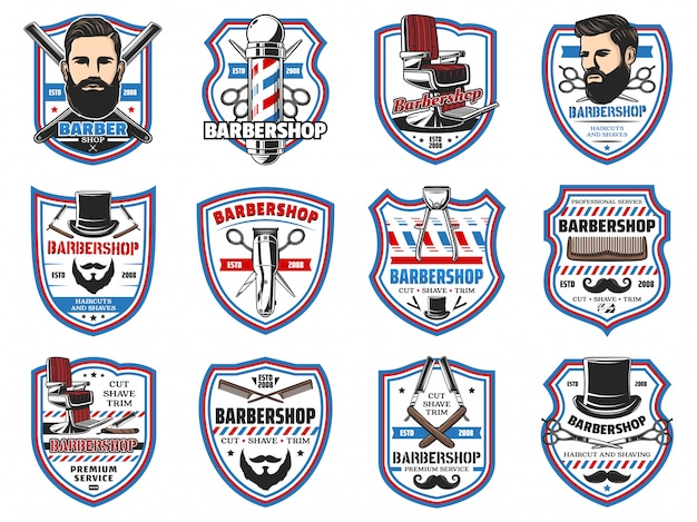 Barber shop signs, mustaches and beard shave salon