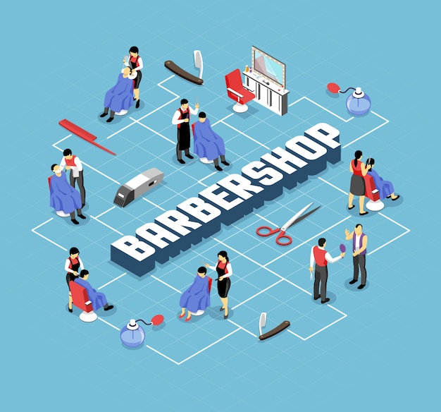 Barber shop stylists and customers professional accessories and interior elements isometric flowchart on blue