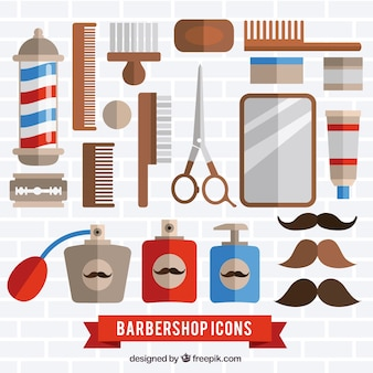 Barber shop tools pack in flat style
