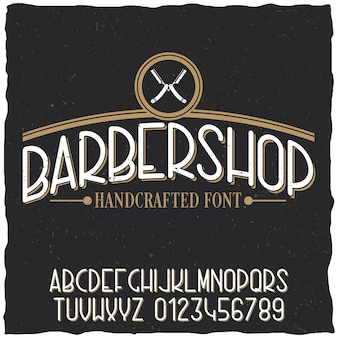 Poster di carattere tipografico del negozio di barbiere con disegno di etichetta di esempio su polveroso