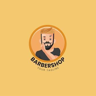 Barber shop vector mascot logo template