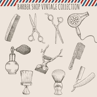 Barber shop vintage tools collection.  pencil hand drawn illustration