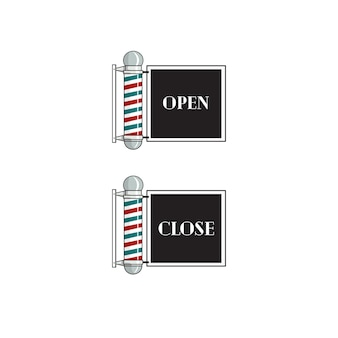 Barber sign open and close