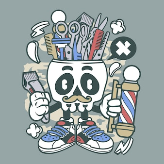 Barber skull cartoon character