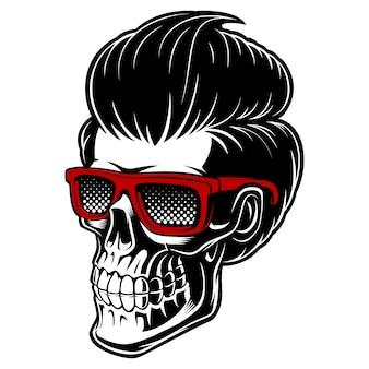 メガネとファッション髪の理髪店の頭蓋骨。ロゴに最適で、理髪店専用のプリントです。白い背景の上。