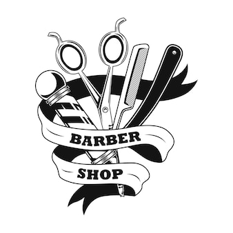 Barber tools vector illustration. scissors, shaving razor, pole and ribbon with text sample