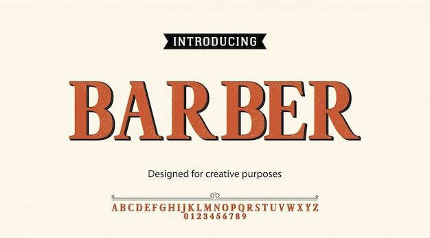 Barber typeface.for labels and different type designs