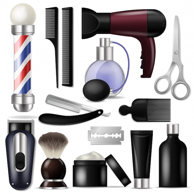 Парикмахерская вектор парикмахерское оборудование или парикмахерские инструменты для стрижки иллюстрации бритвенный набор