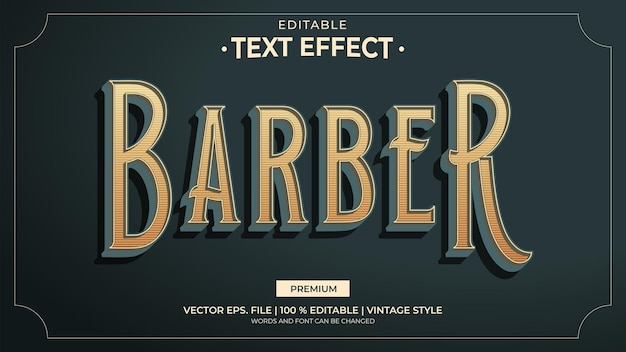 Barber vintage style editable text effects