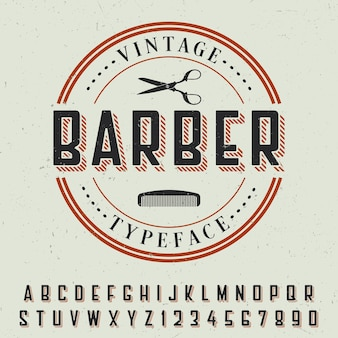 Barber vintage typeface poster with sample label design on grey