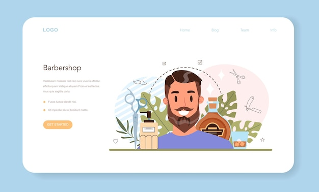 Barber web banner or landing page. idea of hair and beard care.