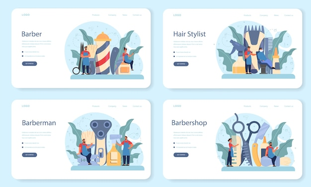 Barber web banner or landing page set. idea of hair and beard care. scissors and brush, shampoo and haircut process. hair treatment and styling.