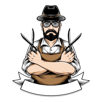 Barberman holding scissor illustration