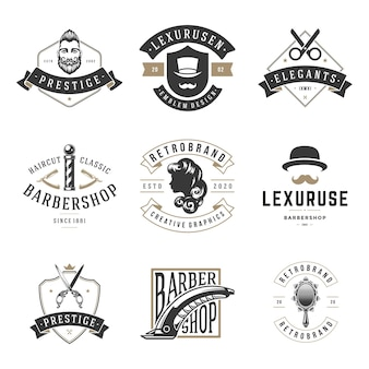 Barbersho retro hairdressing logos set. vintage proven hair cutting and styling companies. elite shaving and mustache grooming service with trendy hairstyles.
