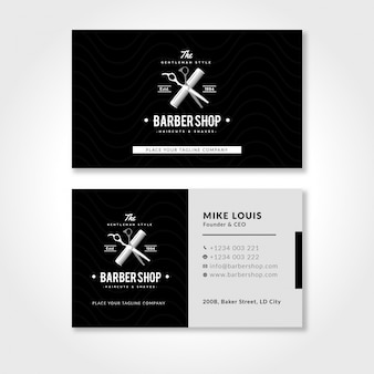 Barbershop business card template with black and white