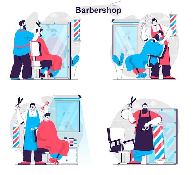 理髪店のコンセプトセット美容師は男性の髪型を剃り、ひげを気遣う