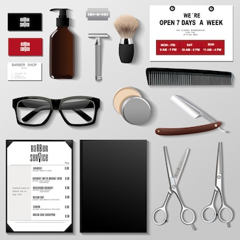 Barbershop corporate identity template design set. branding template,.