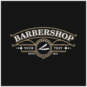 Barbershop emblem badge vintage logo design