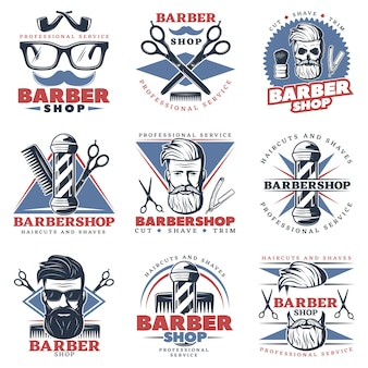 Barbershop emblem set