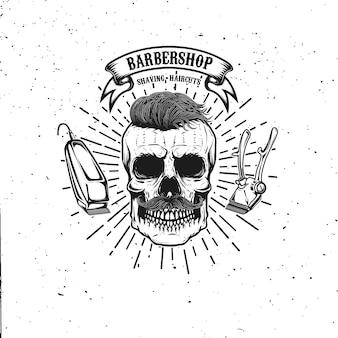 理髪店のエンブレムテンプレート。口ひげと流行に敏感な頭蓋骨。ポスター、カード、バナーの要素。図