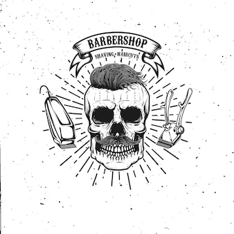 Barbershop emblem template. hipster skull with mustache.  element for poster, card, banner.  illustration