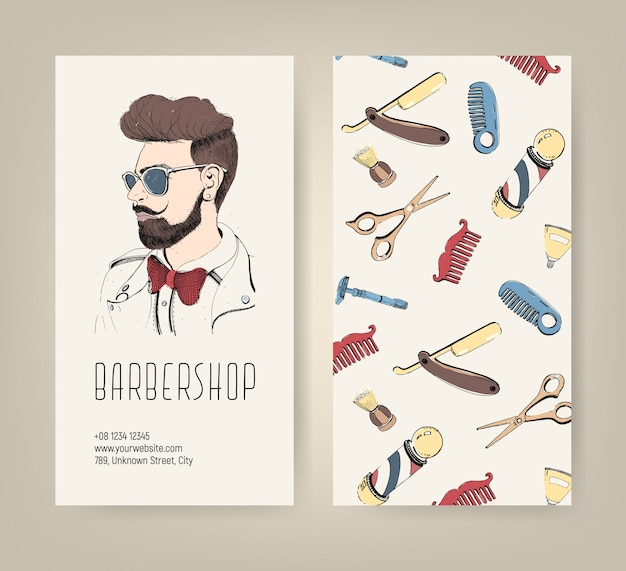 Barbershop flyer with barber tools and trendy man haircut. colorful   illustration.