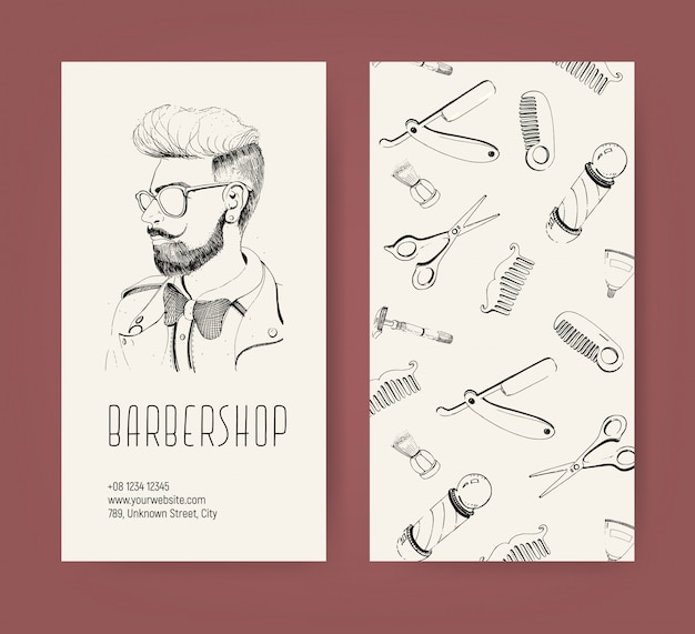 Barbershop flyer with barber tools and trendy man haircut. monochrome  illustration.