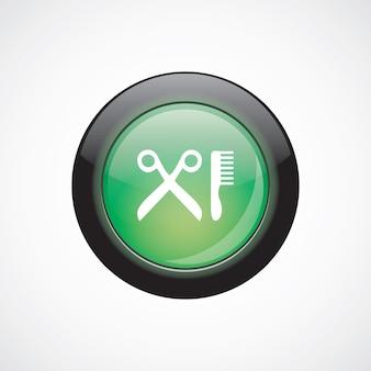 Парикмахерская стекло знак значок зеленая блестящая кнопка. кнопка веб-сайта пользовательского интерфейса