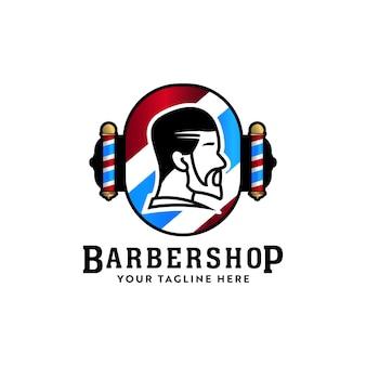 Barbershop hair stylist badge logo icon