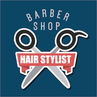 Barbershop and hair stylist logotype