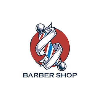 Barbershop hair vintage salon razor logo
