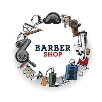 Barbershop, haircat tools and mustache shave