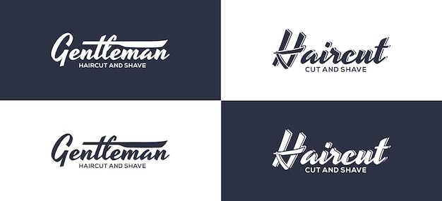 Barbershop, haircut, lettering design in retro style.