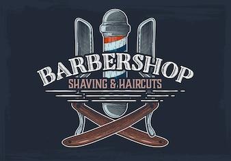 Barbershop hand drawn banner