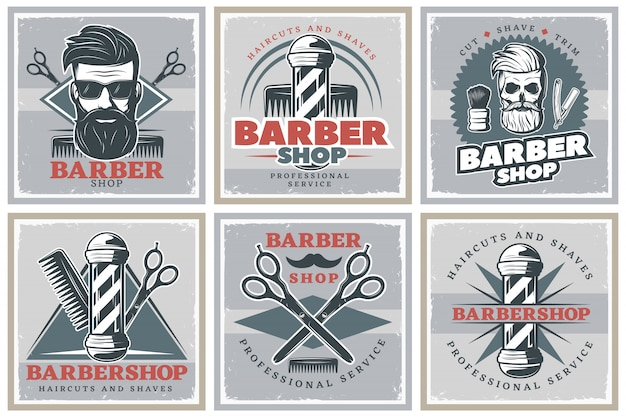Набор плакатов для парикмахерских hipster