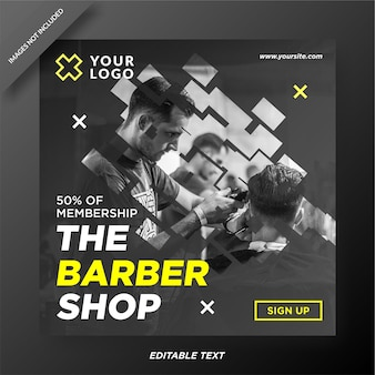 Barbershop instagram template design social media post