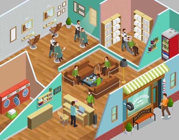 Barbershop interior isometric illustration