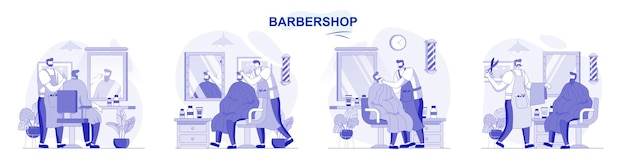 Barbershop isolated set in flat design people get haircuts or shave beard hairdresser