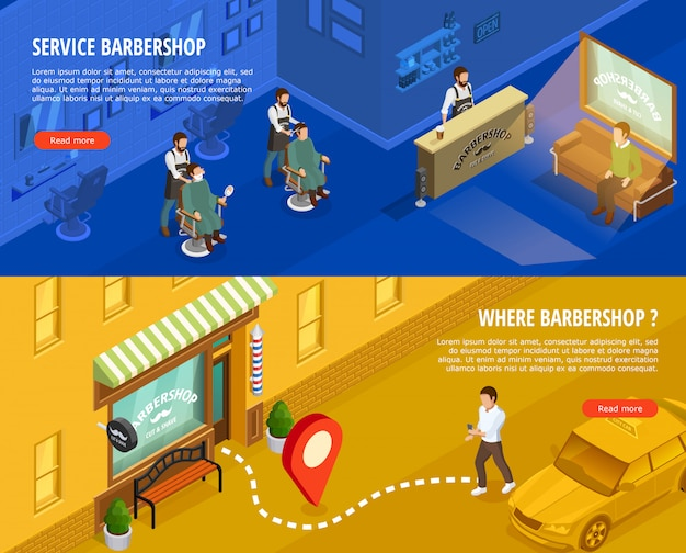 Barbershop isometric banners set
