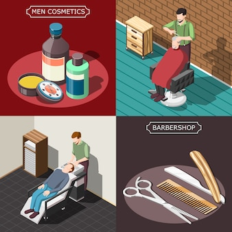 Barbershop isometric design concept